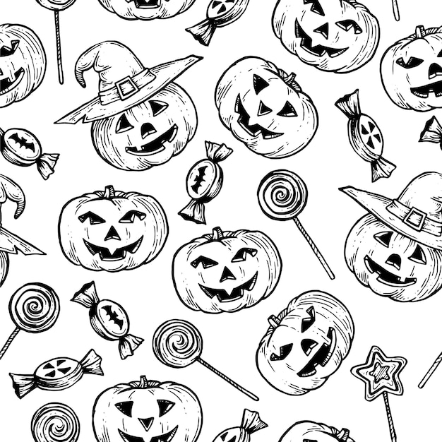 Pattern for halloween with pumpkins.