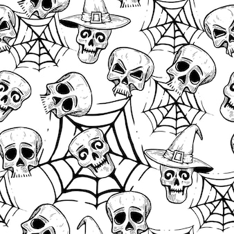 Pattern for halloween with skulls.