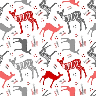 Pattern hand-drawn lettering with deer winter. christmas deer. beautiful design for the po