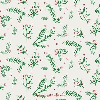 Pattern of hand drawn mistletoe