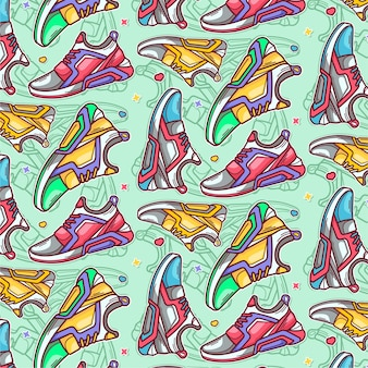 Pattern of hand drawn running shoes