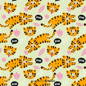 Pattern of hand drawn tigers