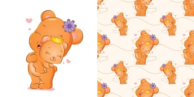 The pattern of happy bear is standing with flower on head carrying a baby of illustration