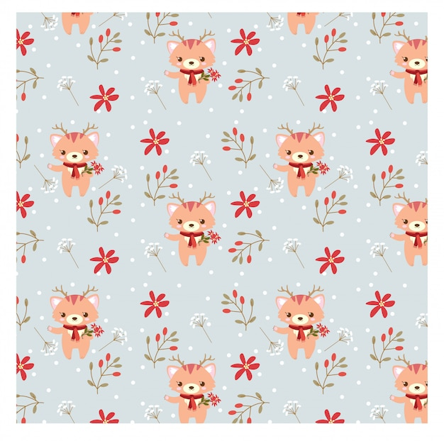 Pattern of happy cat and flower for christmas concept