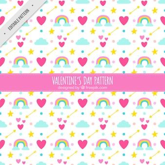 Pattern of hearts and rainbows