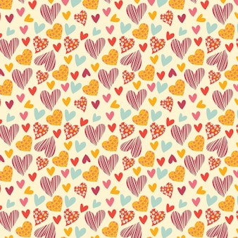 Pattern of hearts with different colors