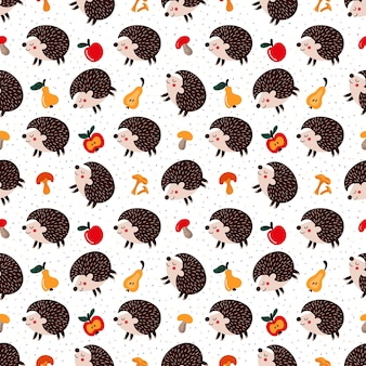 Pattern of  hedgehogs among autumn leaves and fruits with mushrooms vector