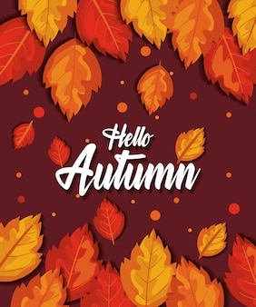 Pattern hello autumn with leaves