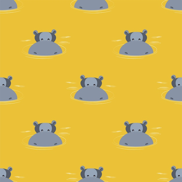Pattern of hippos emerging from water. vector illustration.