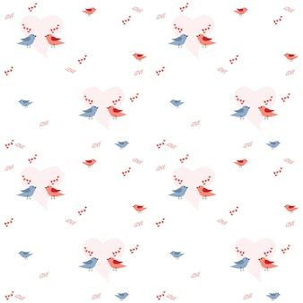 Pattern for a holiday of love with a pair of birds and hearts. vector illustration