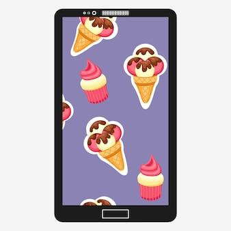 パターンアイスクリームとカップケーキのベクトル図です。テクスチャの背景