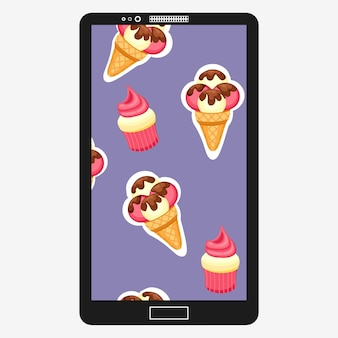 Pattern ice cream and cupcake vector illustration. background of texture