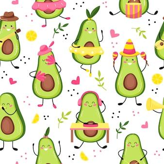 Иллюстрация образца милой музыки плода авокадо или персонажа, играющего на гитаре. симпатичные каваи плоды авокадо. плоский мультяшный стиль
