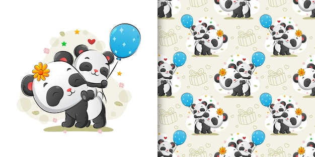 The pattern illustration of the panda carry the little panda hold the balloons in the back body