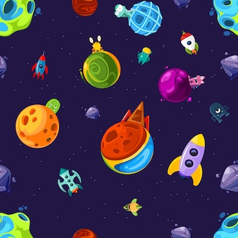 Pattern or  illustration with cartoon space planets and ships