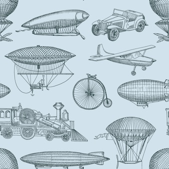 Pattern illustration with steampunk hand drawn airships, bicycles and cars. vintage and retro