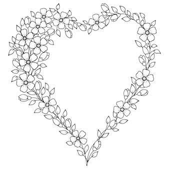ヘナ、一時的な刺青、タトゥー、装飾-フレームのハートの形のパターン。バレンタインデーの桜の花の花輪。エスニックオリエンタルスタイルの装飾的な飾り。塗り絵のページ。