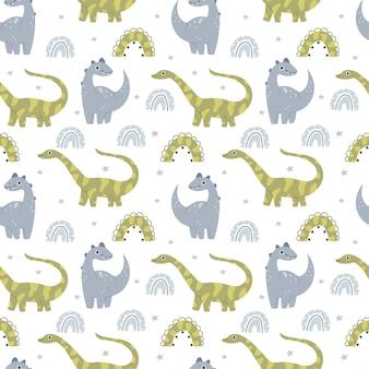 かわいい恐竜と保育園のパターンジュラ紀の爬虫類パステルカラーブラキオサウルスpteroos