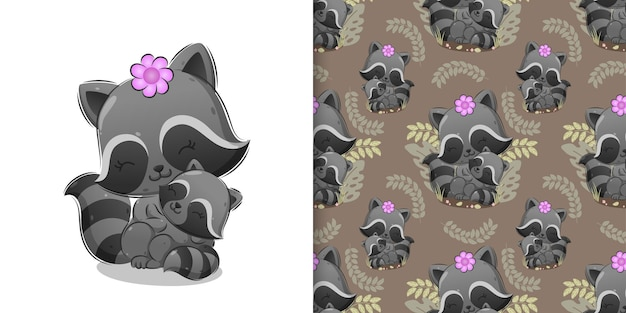 The pattern of kind raccoon is sitting on grass while carrying a baby of illustration