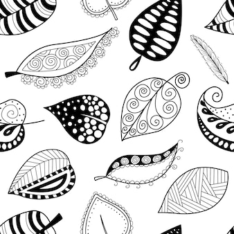 Pattern leafs black contour on white background