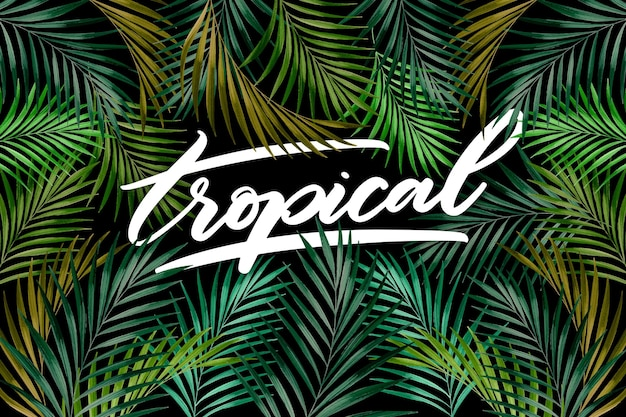 Pattern of leaves tropical lettering