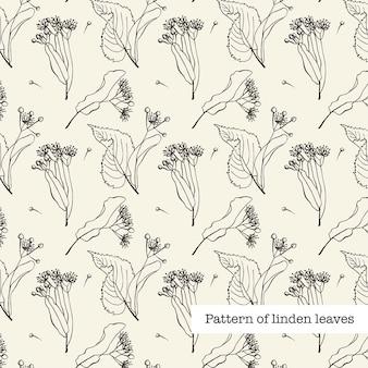 Pattern of linden leaves