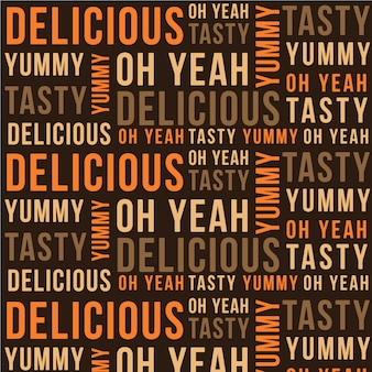 Pattern made of words about delicious food