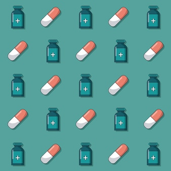 Pattern of medicine bottles and pills animated