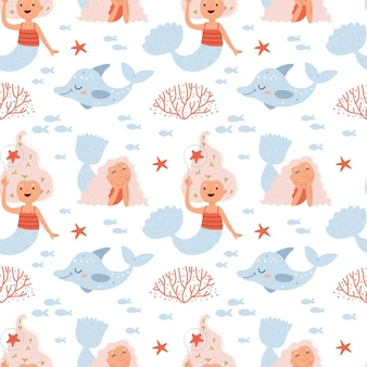 Pattern of mermaids and dolphinssummer pattern about the underwater world in pink colors