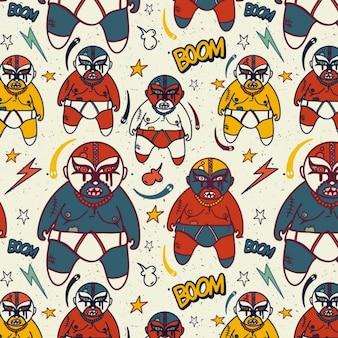 Pattern mexican wrestling with wrestlers