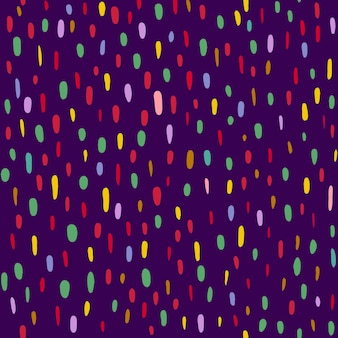 A pattern of multicolored dots and ovals on a dark purple background. vector illustration Premium Vector