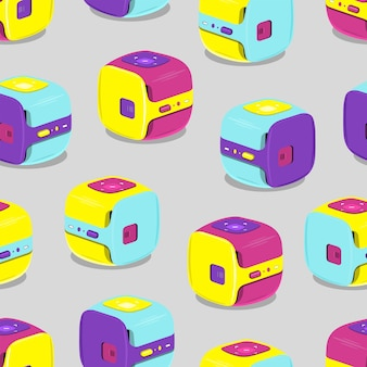 Pattern of multicolored portable video projectors.vector illustration on gray background.