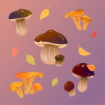 Pattern mushrooms and autumn leaves