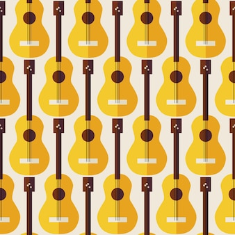 Pattern music instrument guitar. flat style vector seamless texture background. musical template. arts and entertainment. string guitar. acoustic guitar