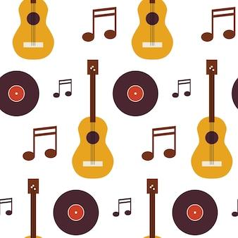 Образец музыки виниловый диск гитара и примечание. предпосылка текстуры вектора плоского стиля безшовная. музыкальный шаблон. искусство и развлечения. рок и звук. акустическая гитара