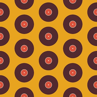 Pattern music vinyl disc over yellow. flat style vector seamless texture background. musical template. retro vintage vinyl record