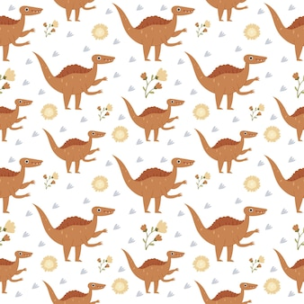 Pattern in the nursery with cute dinosaurs jurassic reptiles pastel colors brachiosaurus ptereos