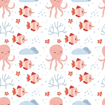 Pattern of octopus and fishsummer pattern about the underwater world in pink colors