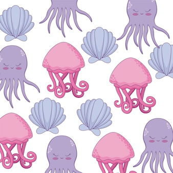 Pattern of octopus with seashell and jellyfish