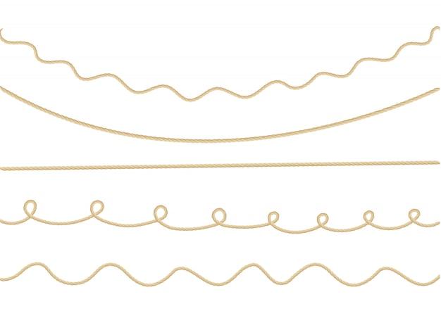 異なる方向のマリンロープの結び目と背景のパターン。