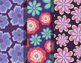 Pattern of beautiful and tropical flowers