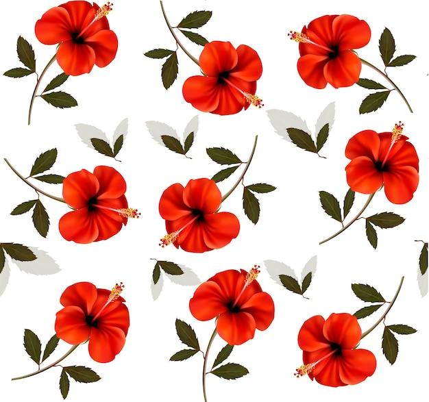 아름 다운 붉은 꽃의 패턴입니다.
