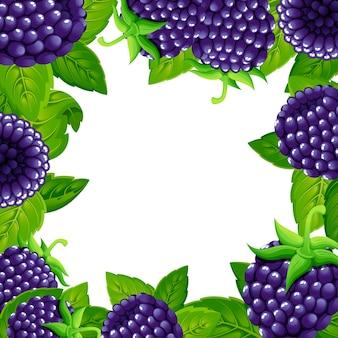 Шаблон ежевики. иллюстрация лесной ягоды с зелеными листьями. иллюстрация для декоративного плаката, эмблема натурального продукта, фермерский рынок. страница сайта и мобильное приложение.