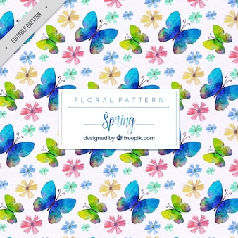 파란 나비와 수채화 꽃 패턴