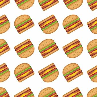 フラットスタイルのハンバーガーのパターン