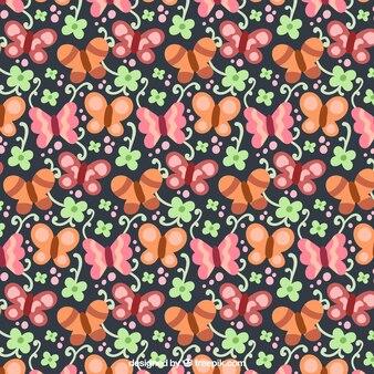 나비와 빈티지 스타일의 장식 꽃 패턴