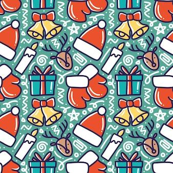 Шаблон рождественского рисунка руки с иконами и элементами дизайна