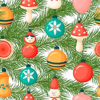 크리스마스 트리 branch.cartoon 스타일에 크리스마스 장난감의 패턴