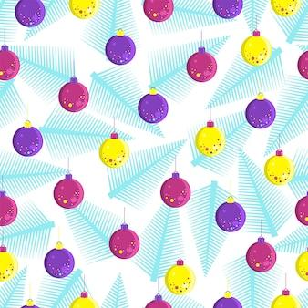 크리스마스 트리 장식과 전나무 가지의 패턴입니다. 벡터 일러스트 레이 션.