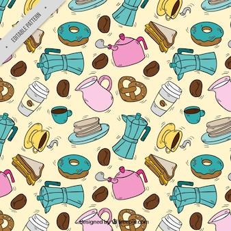커피와 사탕 스케치의 패턴